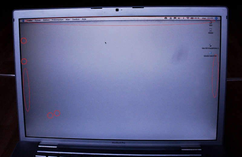 Taches grises sous l 39 cran des macbook pro forums for Mac fenetre hors ecran