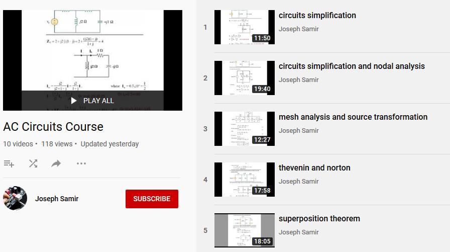 فيديو : كورس الدوائر الكهربية AC Circuits Course للمهندس /  جوزيف سمير