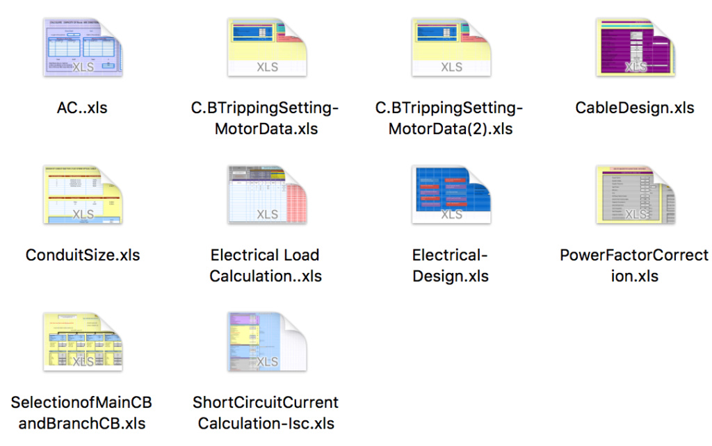 برامج علي هيئة شيت اكسل حصريا للتصميم الكهربي