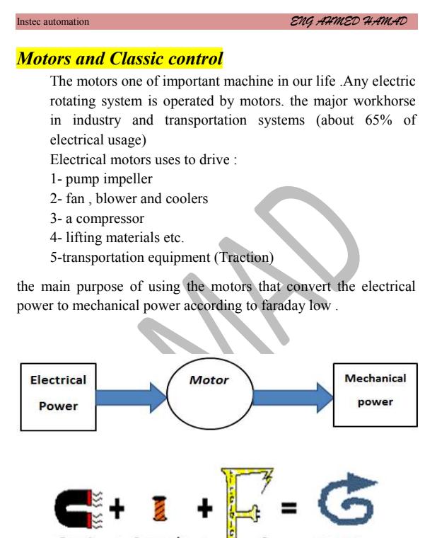 كتاب Motors and Classic control للمهندس احمد حماد