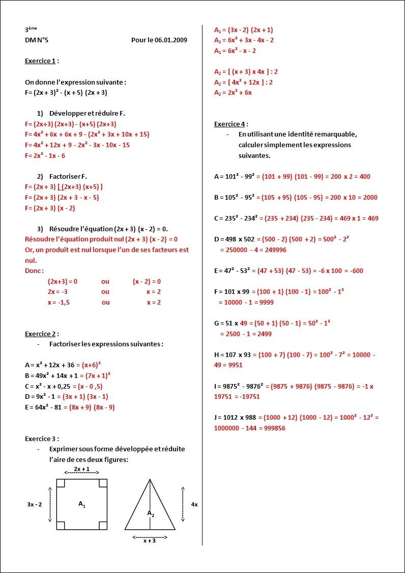 DM sur Les Identités Remarquables et les equations ...